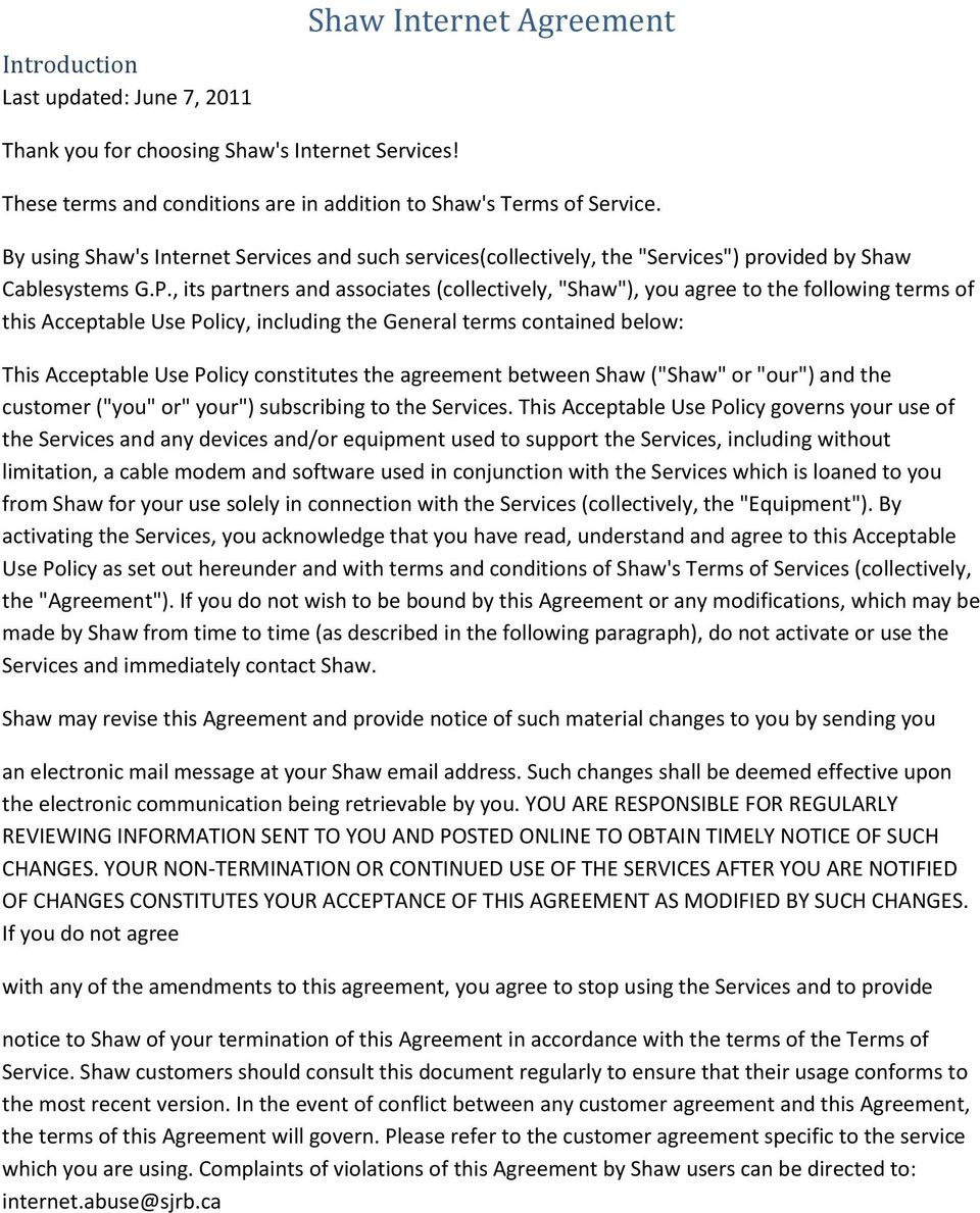 Shaw Internet Agreement - PDF