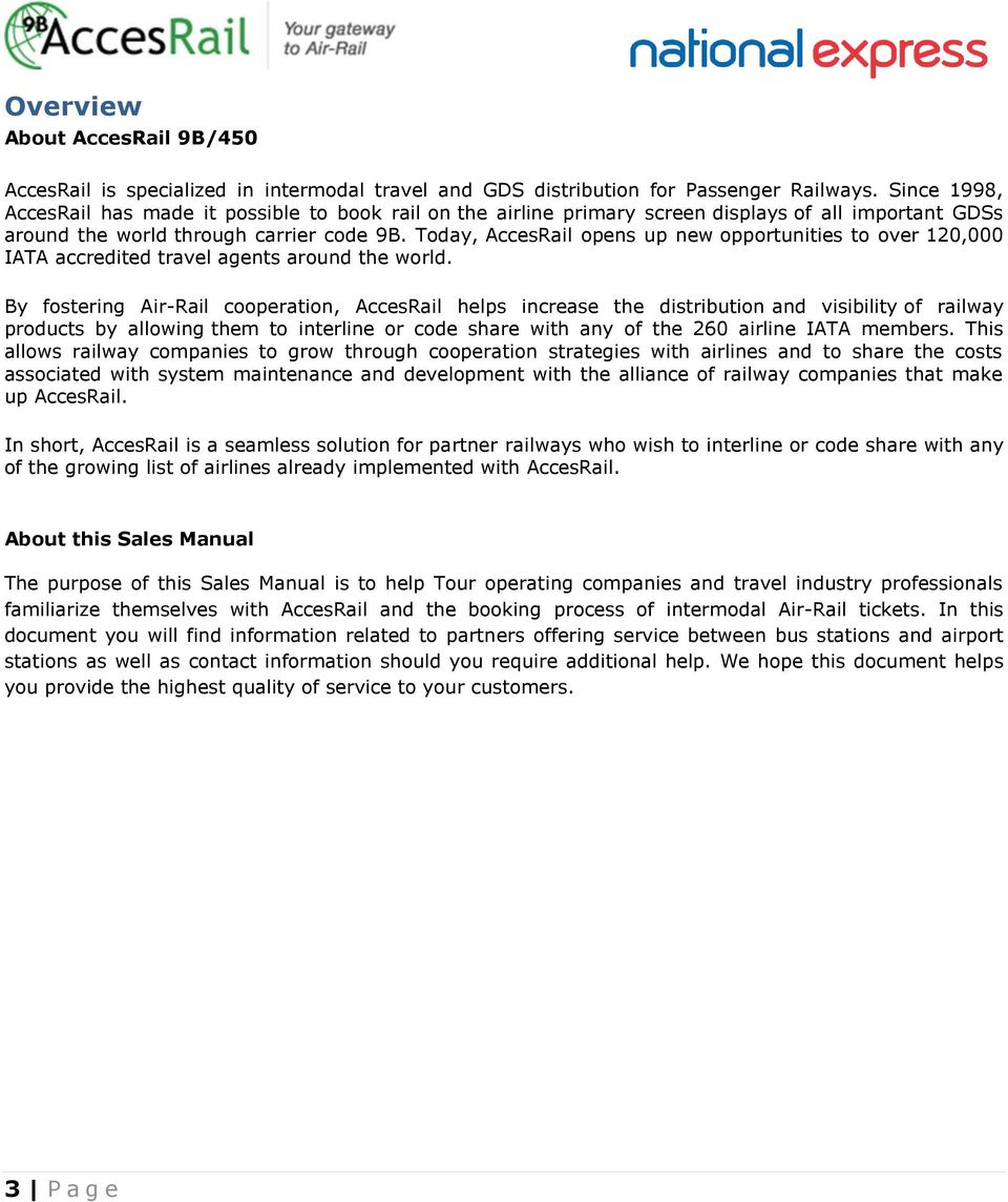 Sales Manual overview Page 3  About AccesRail 9B/450 Page 3