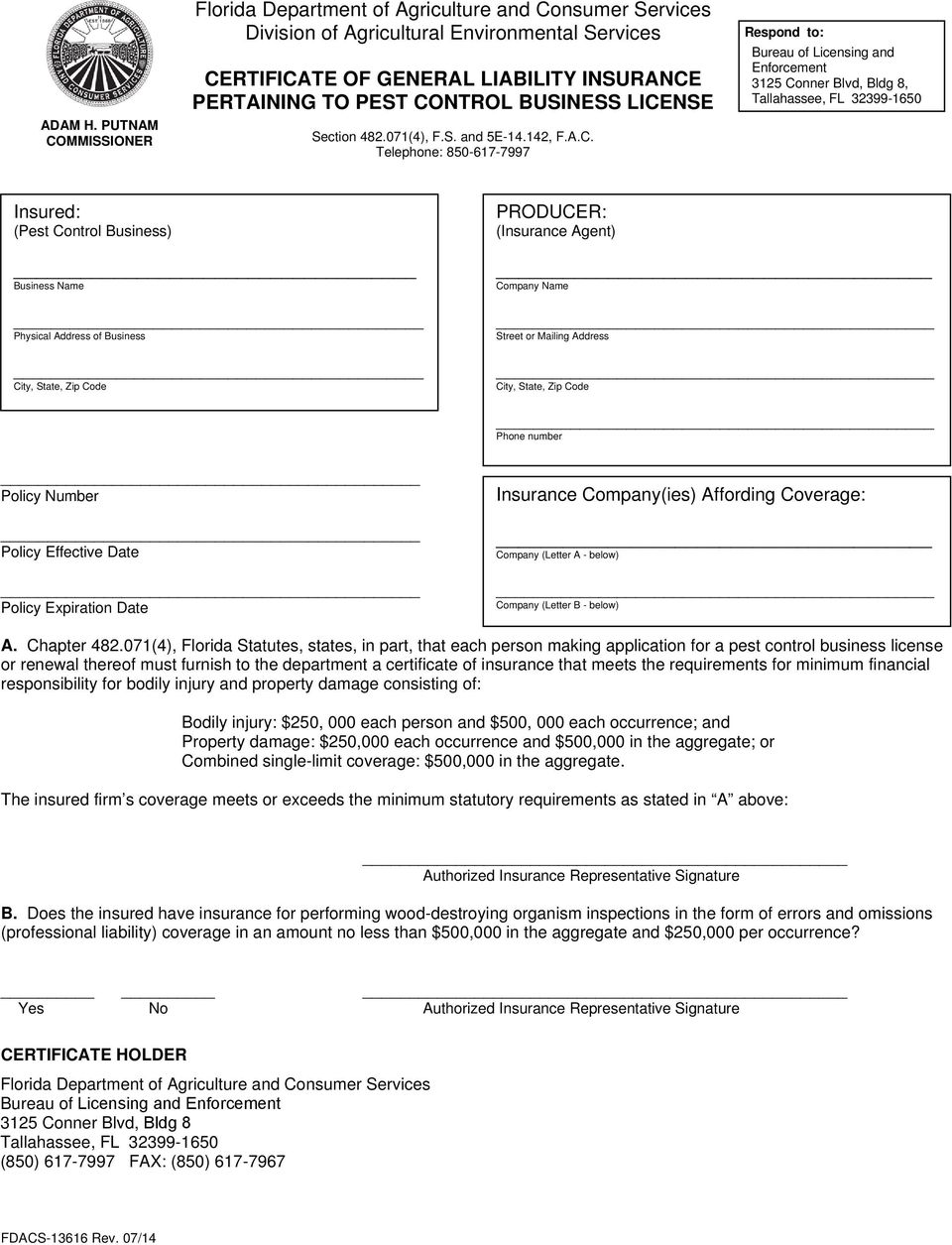 PEST CONTROL BUSINESS LICENSE APPLICATION INSTRUCTION SHEET - PDF