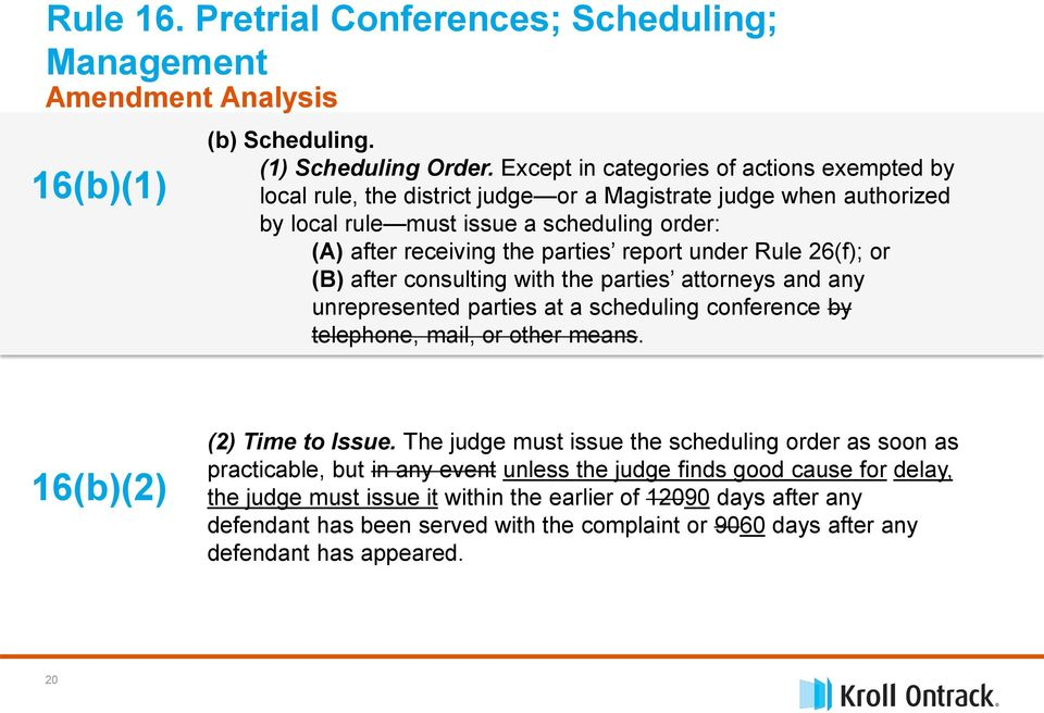 under Rule 26(f); or (B) after consulting with the parties attorneys and any unrepresented parties at a scheduling conference by telephone, mail, or other means. 16(b)(2) (2) Time to Issue.