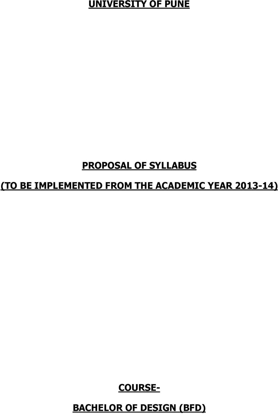 Proposal Of Syllabus To Be Implemented From The Academic Year Pdf Free Download