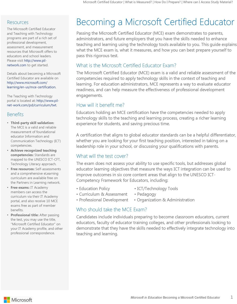 Microsoft In Education Microsoft Certified Educator Study Guide Pdf