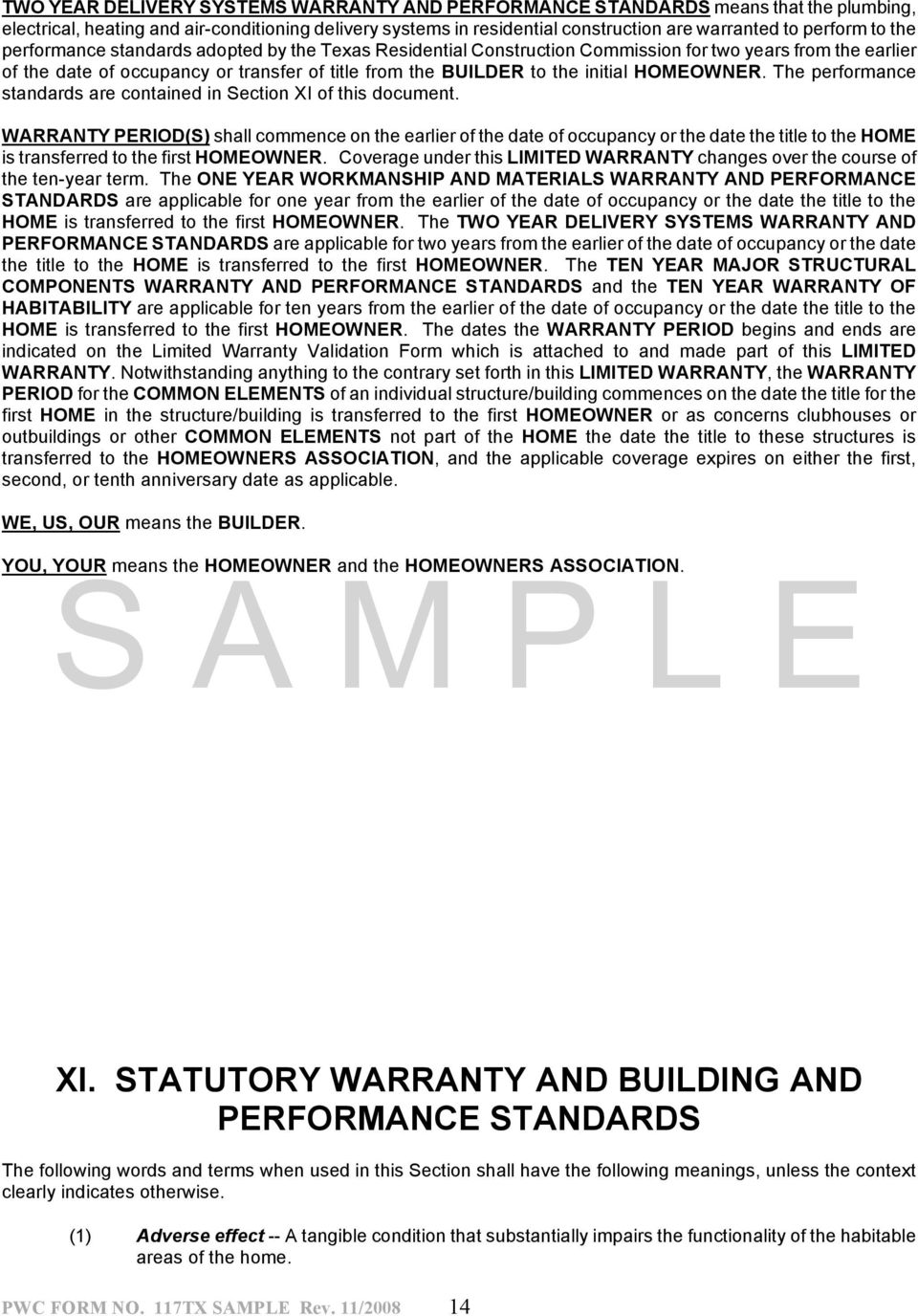 Home Builder S Limited Warranty Administered By Professional Warranty Service Corporation Pdf Free Download