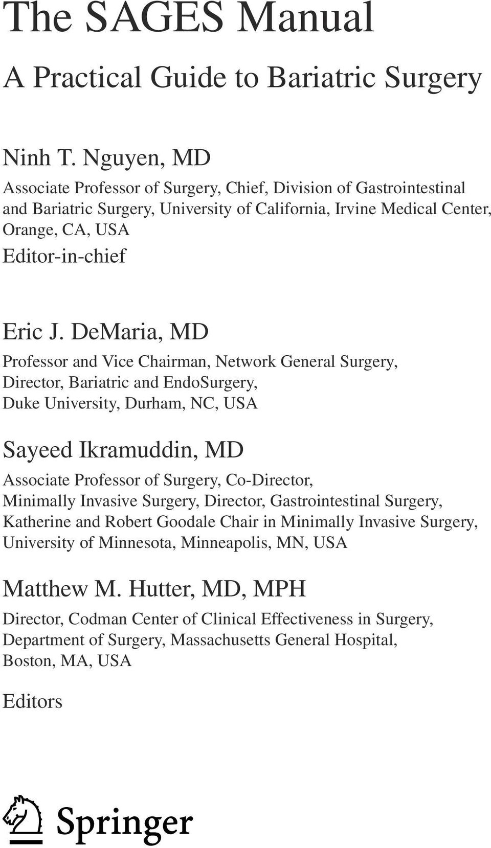 The SAGES Manual  A Practical Guide to Bariatric Surgery - PDF