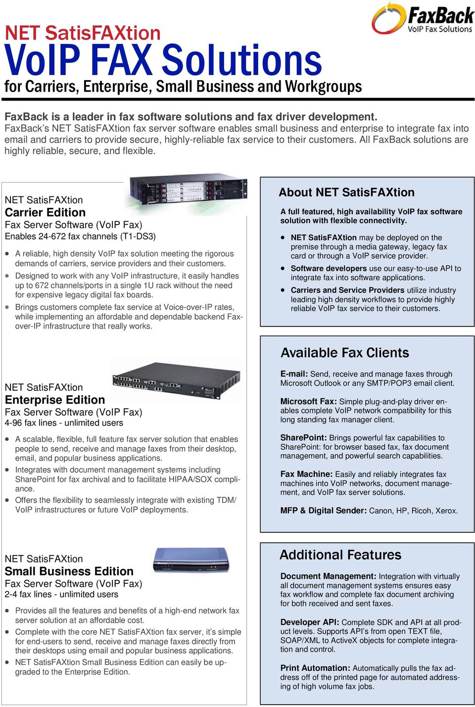 VoIP FAX Solutions  for Carriers, Enterprise, Small Business