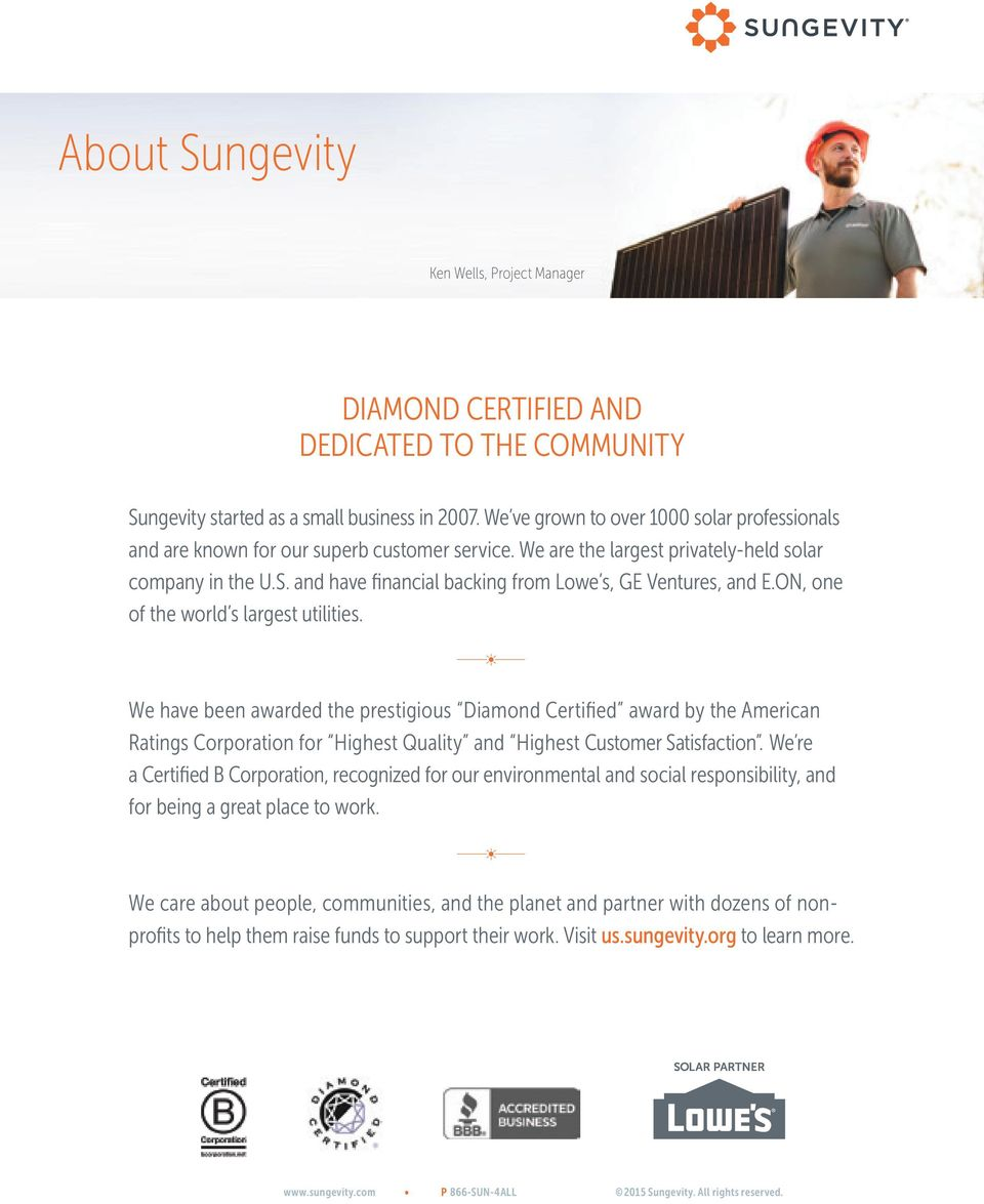 Sungevity for Your Business Statement of Qualifications / P