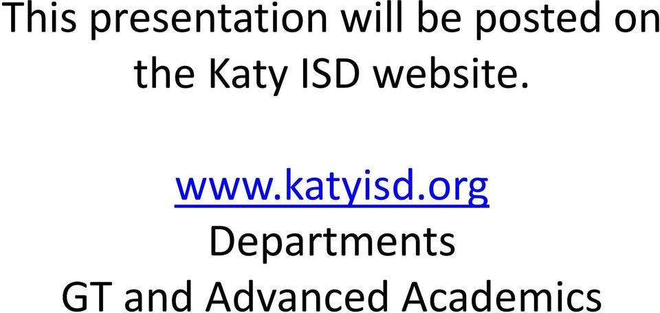 website. www.katyisd.