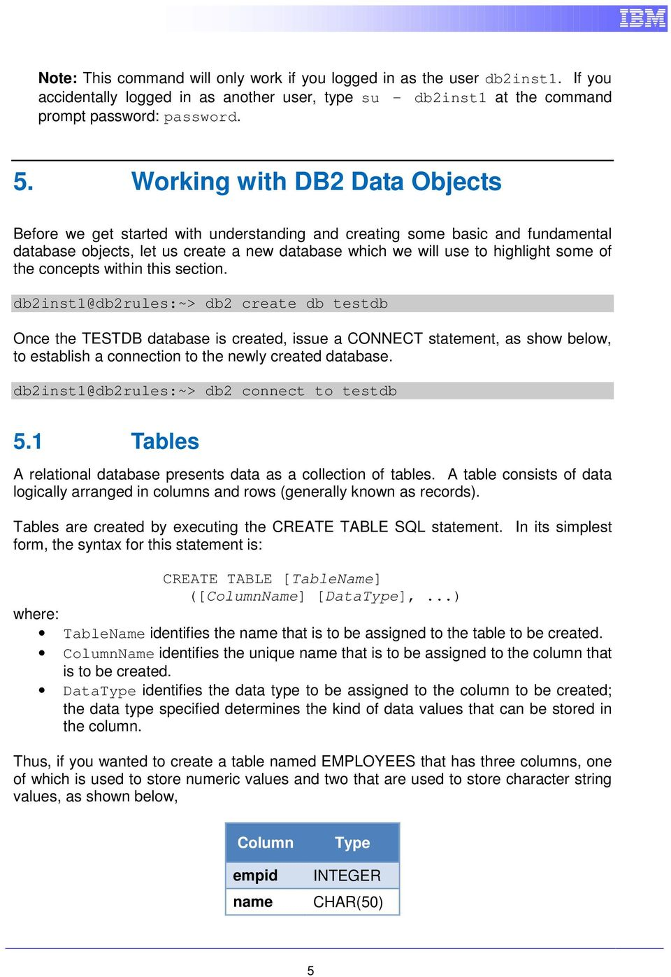IBM DB Introduction to SQL and database objects Hands-on Lab