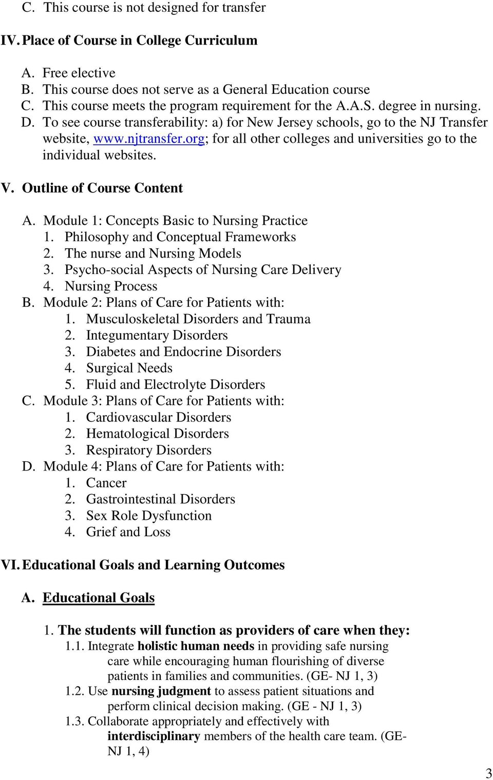 org; for all other colleges and universities go to the individual websites. V. Outline of Course Content A. Module 1: Concepts Basic to Nursing Practice 1. Philosophy and Conceptual Frameworks 2.