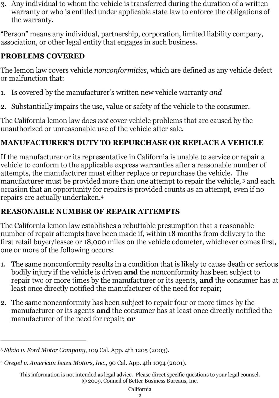 standards of the california lemon law song-beverly consumer warranty