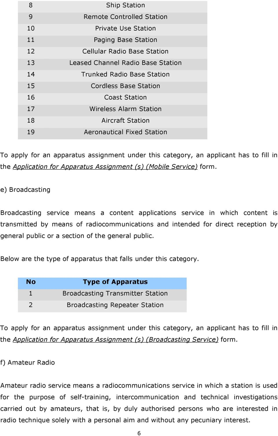 GUIDELINE FOR APPARATUS ASSIGNMENT  20 May 2009 (SKMM/G/01