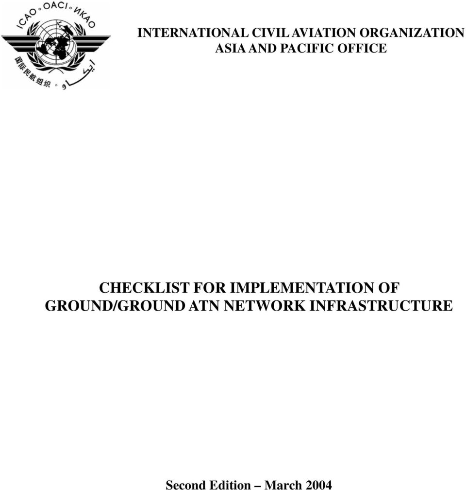 INTERNATIONAL CIVIL AVIATION ORGANIZATION ASIA AND PACIFIC