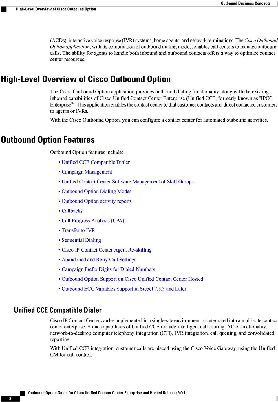 Outbound Option Guide for Cisco Unified Contact Center Enterprise