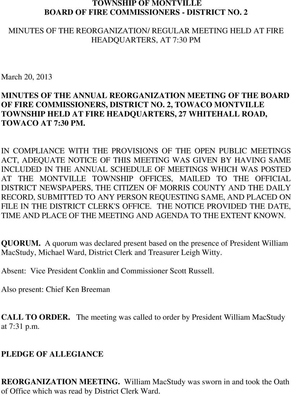 TOWNSHIP OF MONTVILLE BOARD OF FIRE COMMISSIONERS - DISTRICT