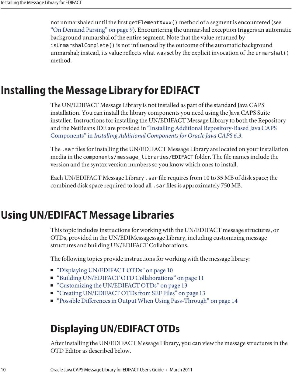 Oracle Java CAPS Message Library for EDIFACT User's Guide - PDF