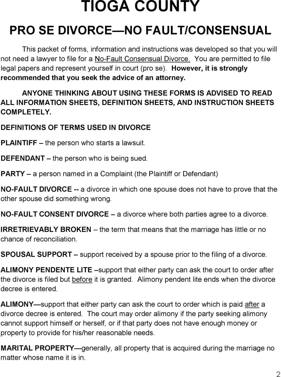Tioga county divorce where parties consent to the divorce and no anyone thinking about using these forms is advised to read all information sheets definition sheets solutioingenieria
