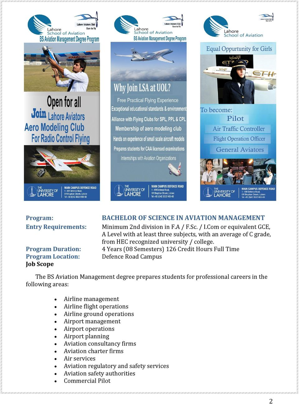 ADMISSION GUIDE  Lahore School of Aviation  Undergraduate
