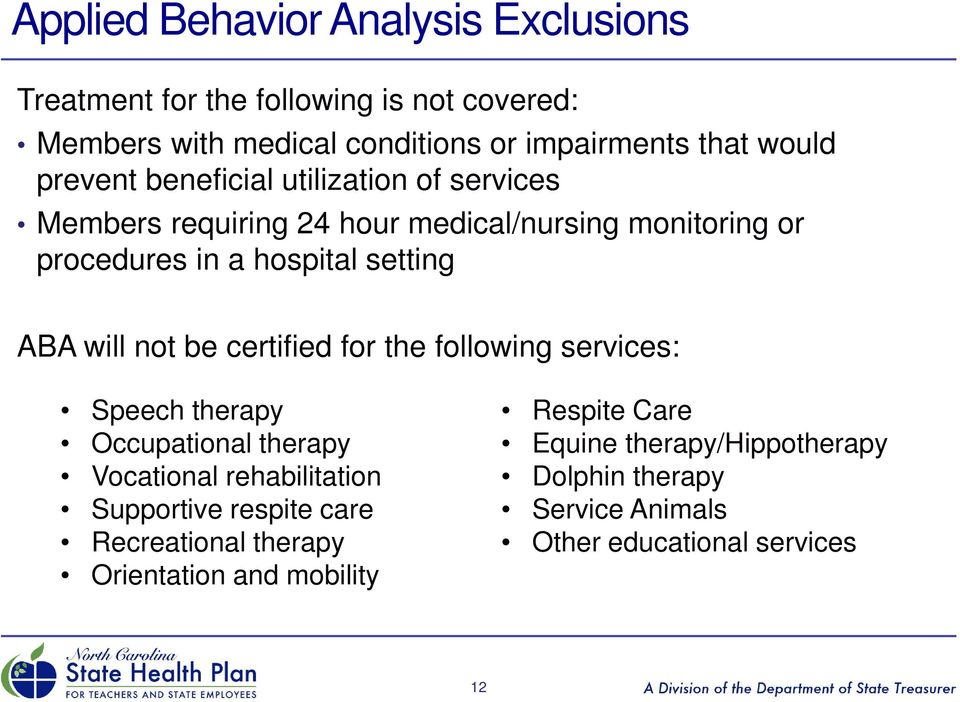 coverage for applied behavior analysis -