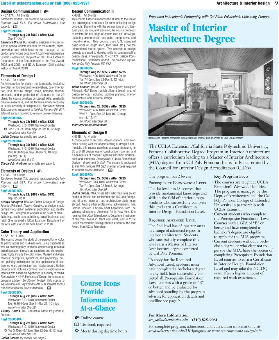 ... arcid.uclaextension.edu/miaprogram or. u0026 Reg# 259996CA Through Aug 21 $669 / After $735 Sep 21-. 3 10 Architecture u0026 Interior Design ...  sc 1 st  DocPlayer.net : ucla extension interior design - zebratimes.com