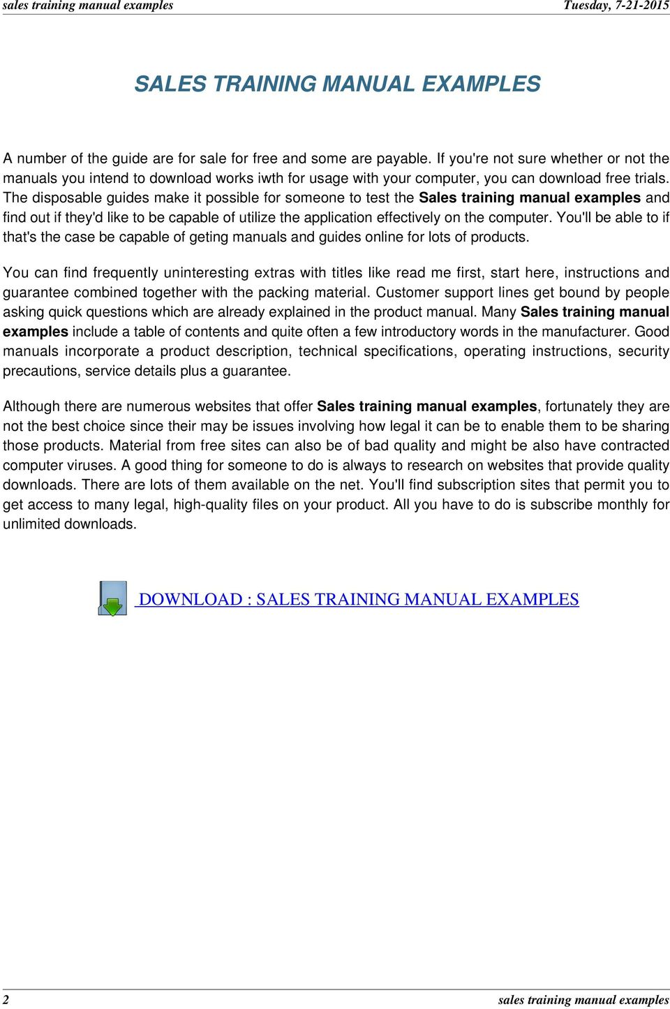 sales training manual examples pdf