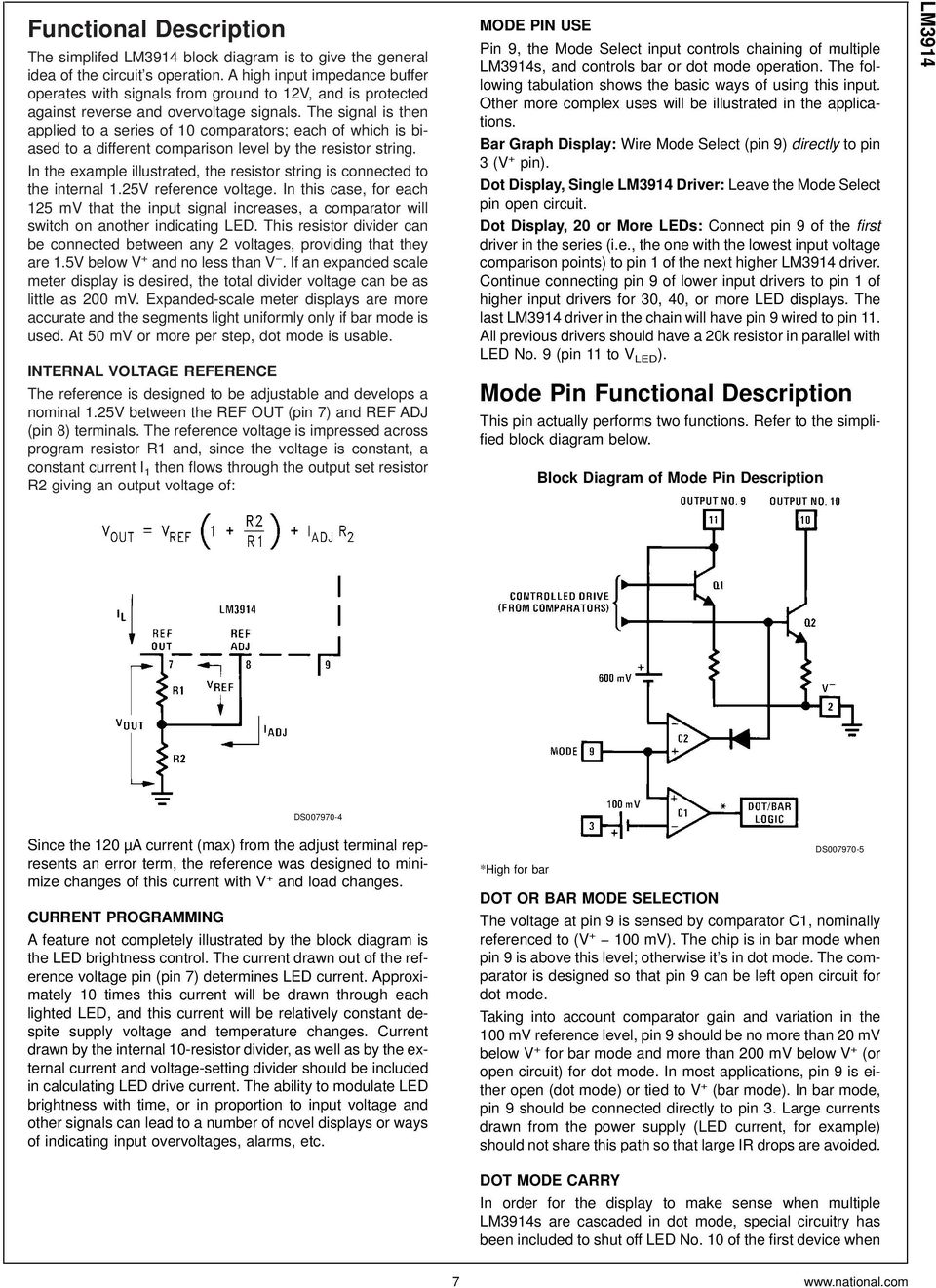 Lm3914 Dot Bar Display Driver Pdf Circuit Diagram Basic Low Voltage Latching Relay Driverhtml The Signal Is Then Applied To A Series Of 10 Comparators Each Which