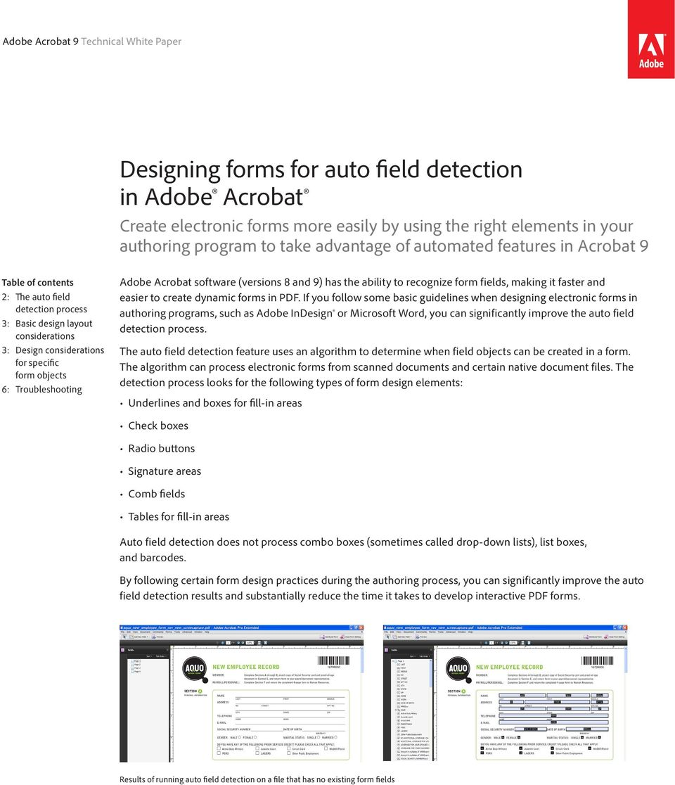 Designing forms for auto field detection in Adobe Acrobat - PDF