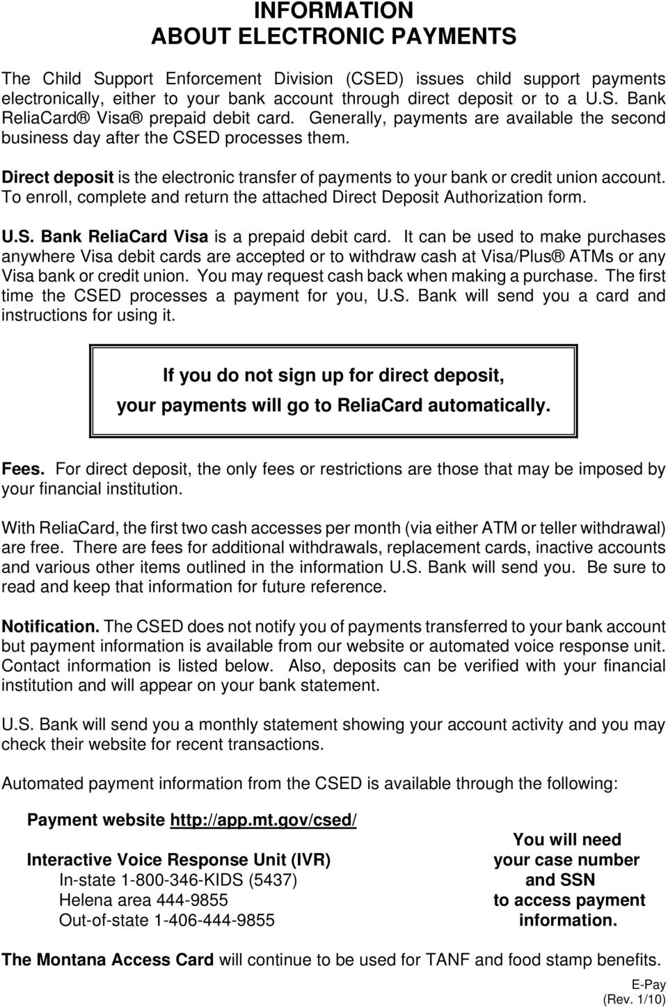 To Enroll Complete And Return The Attached Direct Deposit Authorization Form US Bank ReliaCard