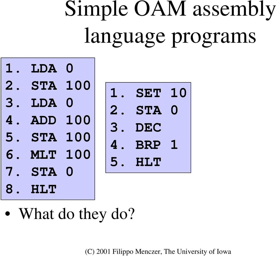 HLT Simple OAM assembly What do they do?