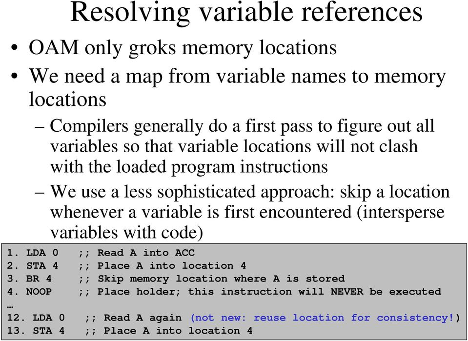 (intersperse variables with code) 1. LDA 0 ;; Read A into ACC 2. STA 4 ;; Place A into location 4 3. BR 4 ;; Skip memory location where A is stored 4.