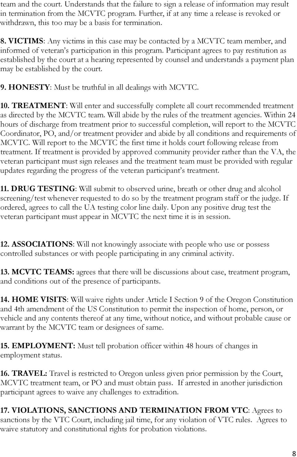 MARION COUNTY VETERANS TREATMENT COURT POLICES AND