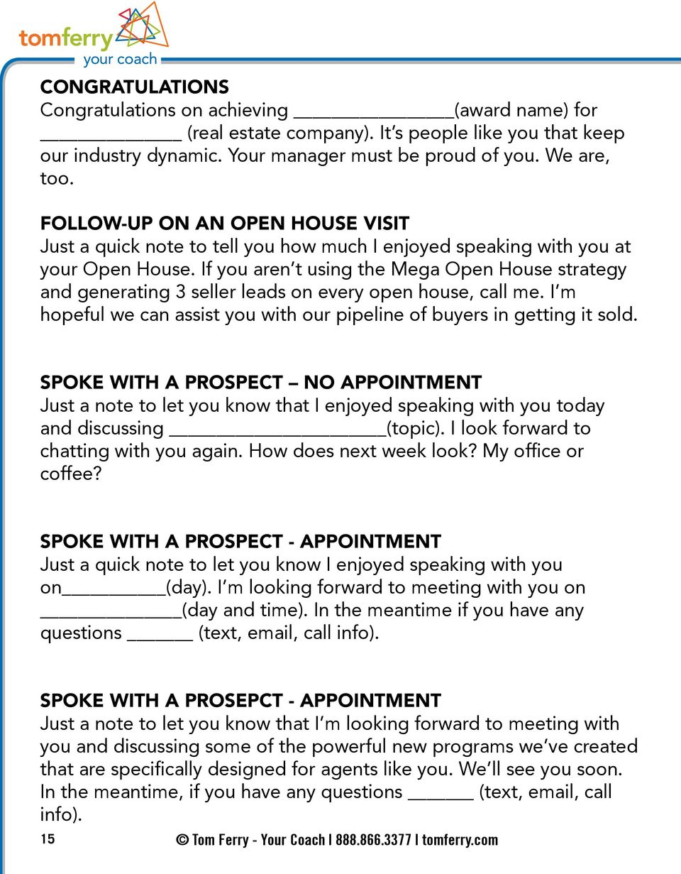 RECRUITING TIPS SCRIPTS  Tom Ferry - Your Coach tomferry com