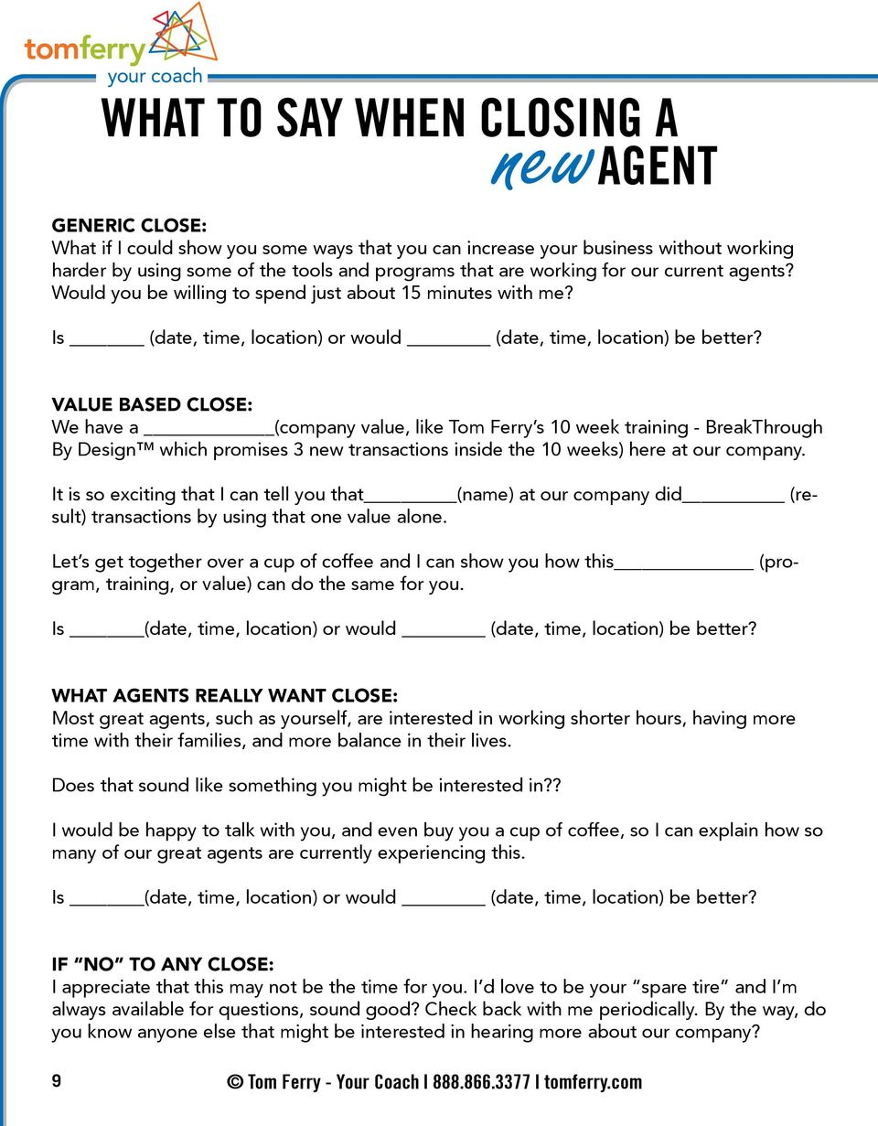 RECRUITING TIPS SCRIPTS  Tom Ferry - Your Coach tomferry com - PDF