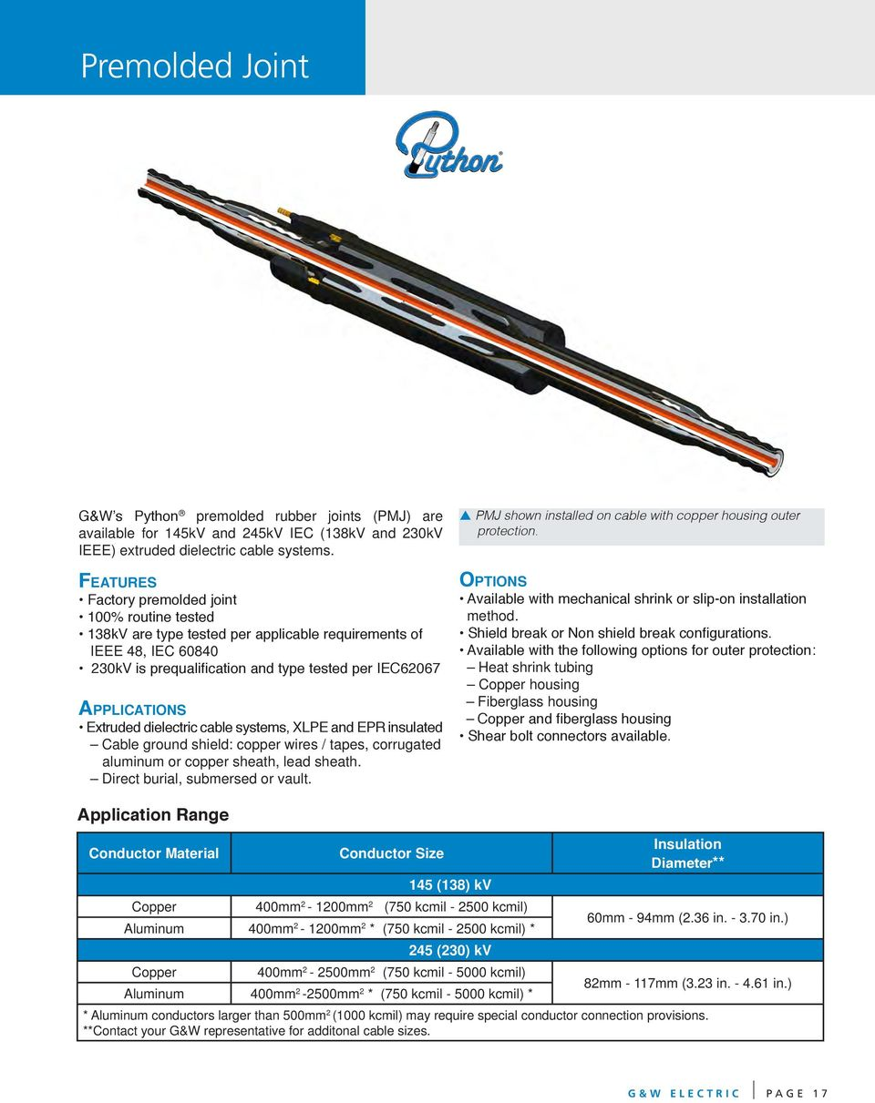 Cable Accessories For Extruded Dielectric 69kv 230kv Rated Electrical Wiring Joints Pdf Systems Lpe And Epr Insulated Ground Shield Copper Wires
