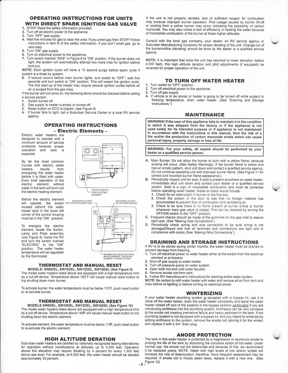 Suburban Installation And Operation Manual Direct Vent Gas Water Hot Heater Wiring Diagram Trn Switch Mrked In Igre