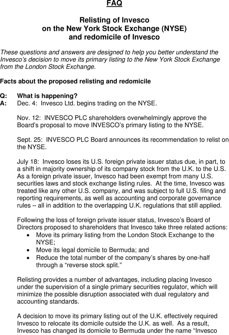 Faq Relisting Of Invesco On The New York Stock Exchange Nyse And