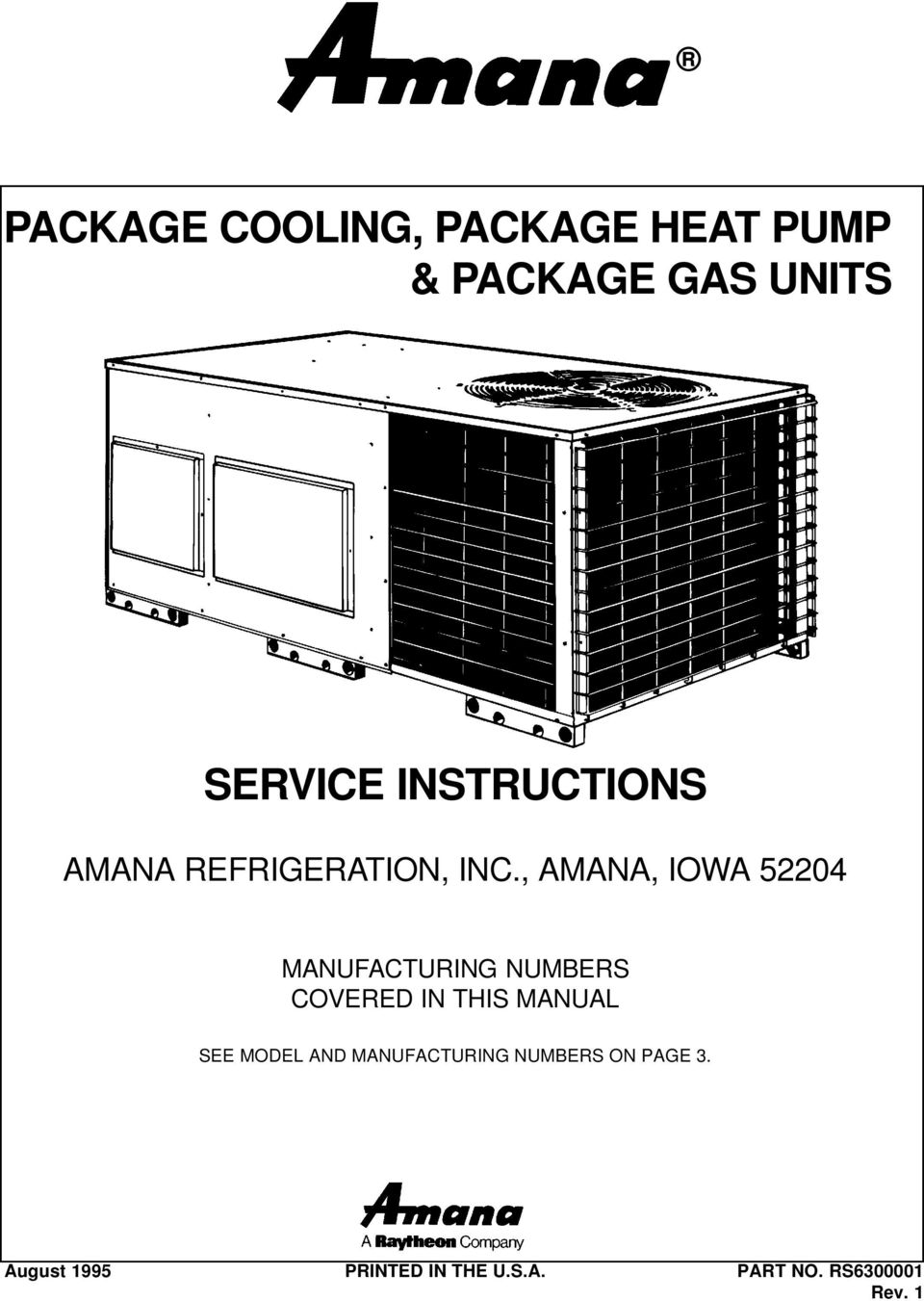 Package Cooling Heat Pump Gas Units Pdf Amana Air Handler Wiring Diagrams Iowa 52204 Manufacturing Numbers Covered In This Manual