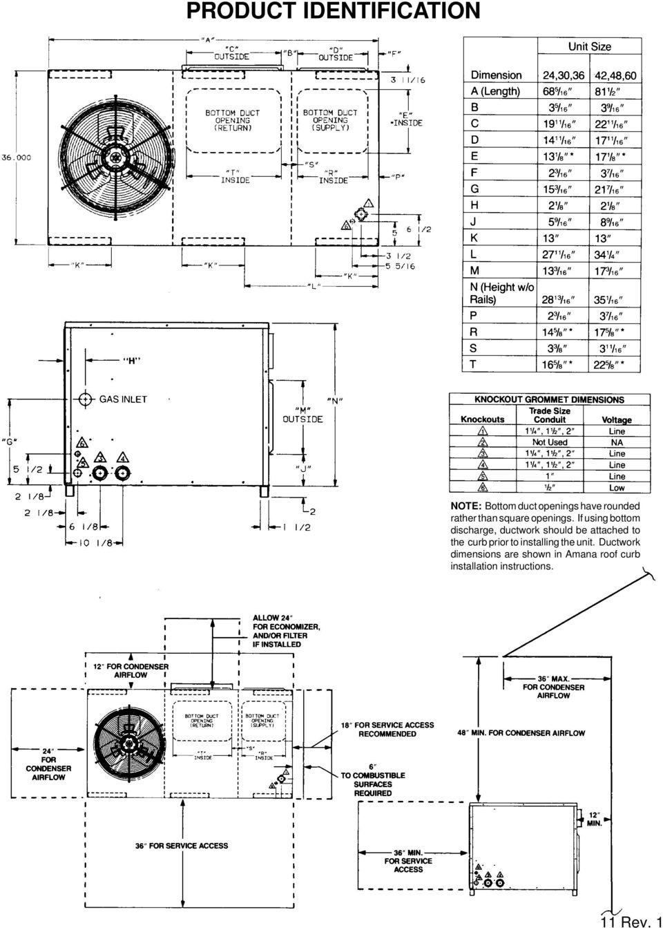 Package Cooling Heat Pump Gas Units Pdf Amana Condensing Unit Wiring Diagram If Using Bottom Discharge Ductwork Should Be Attached To The Curb