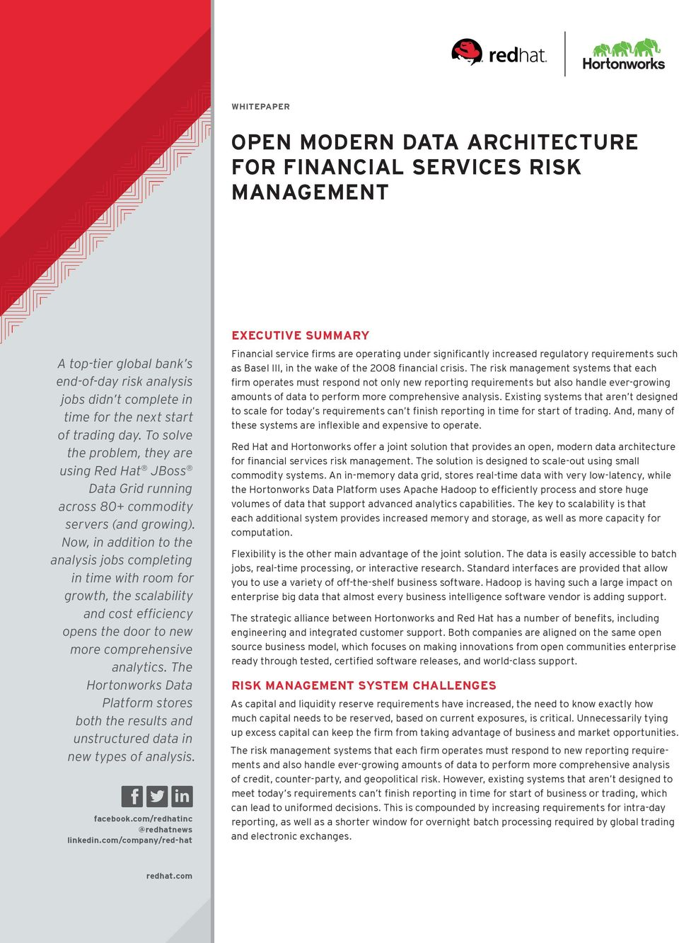 OPEN MODERN DATA ARCHITECTURE FOR FINANCIAL SERVICES RISK
