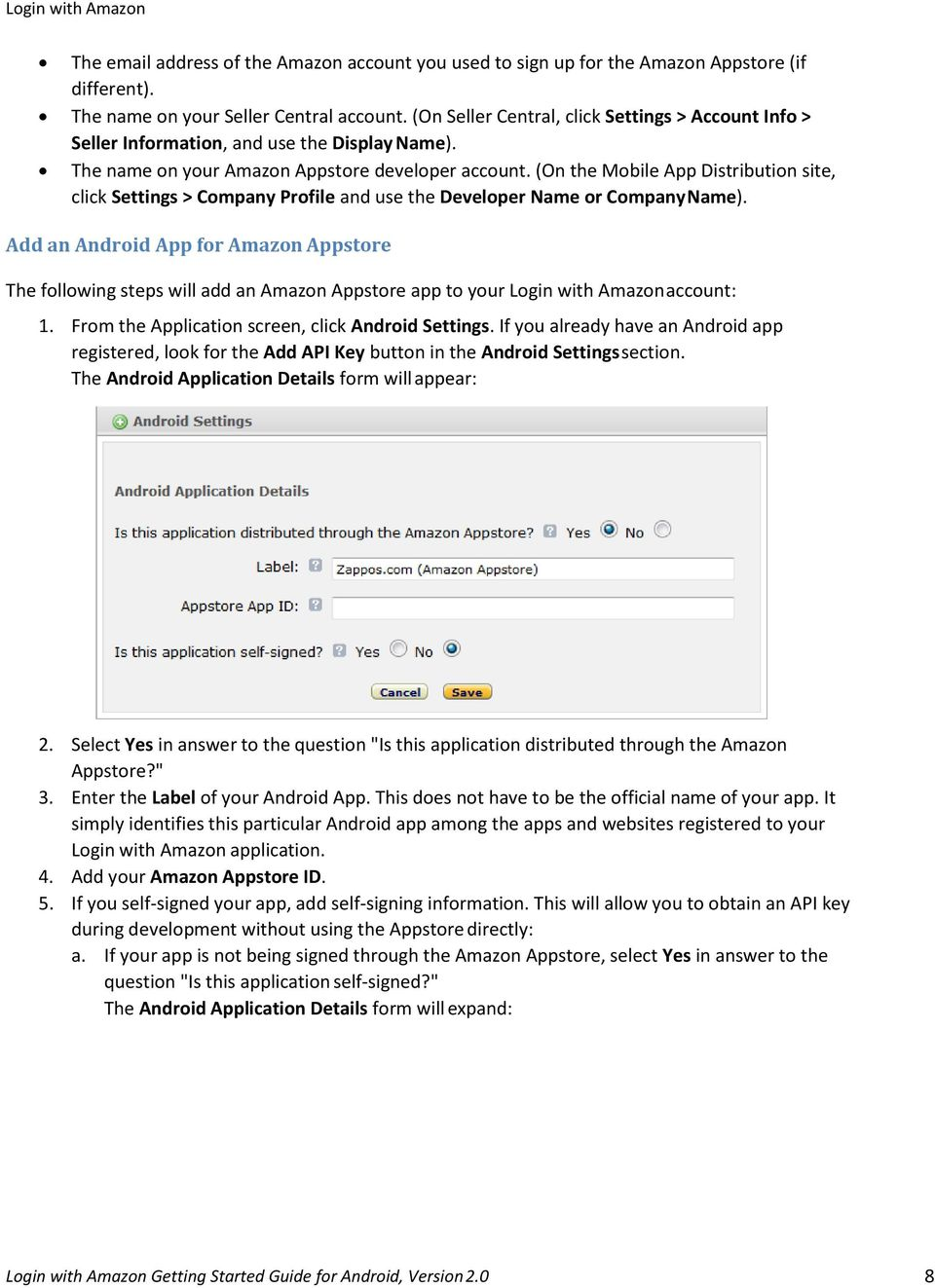 Login with Amazon Getting Started Guide for Android  Version PDF