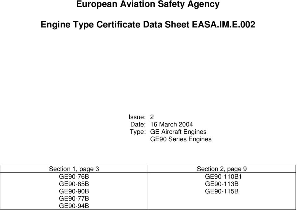 European Aviation Safety Agency Engine Type Certificate Data Sheet