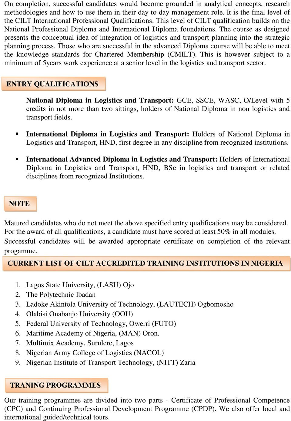 THE CHARTERED INSTITUTE OF LOGISTICS & TRANSPORT, NIGERIA - PDF