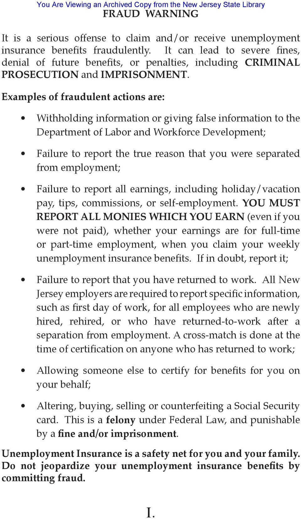 State of New Jersey Department of Labor and Workforce