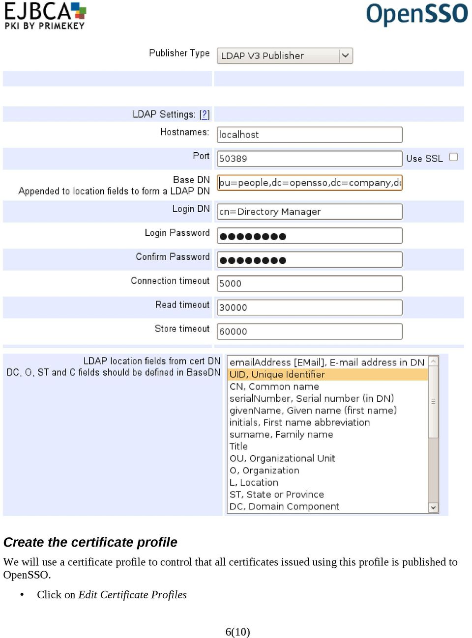 certificates issued using this profile is