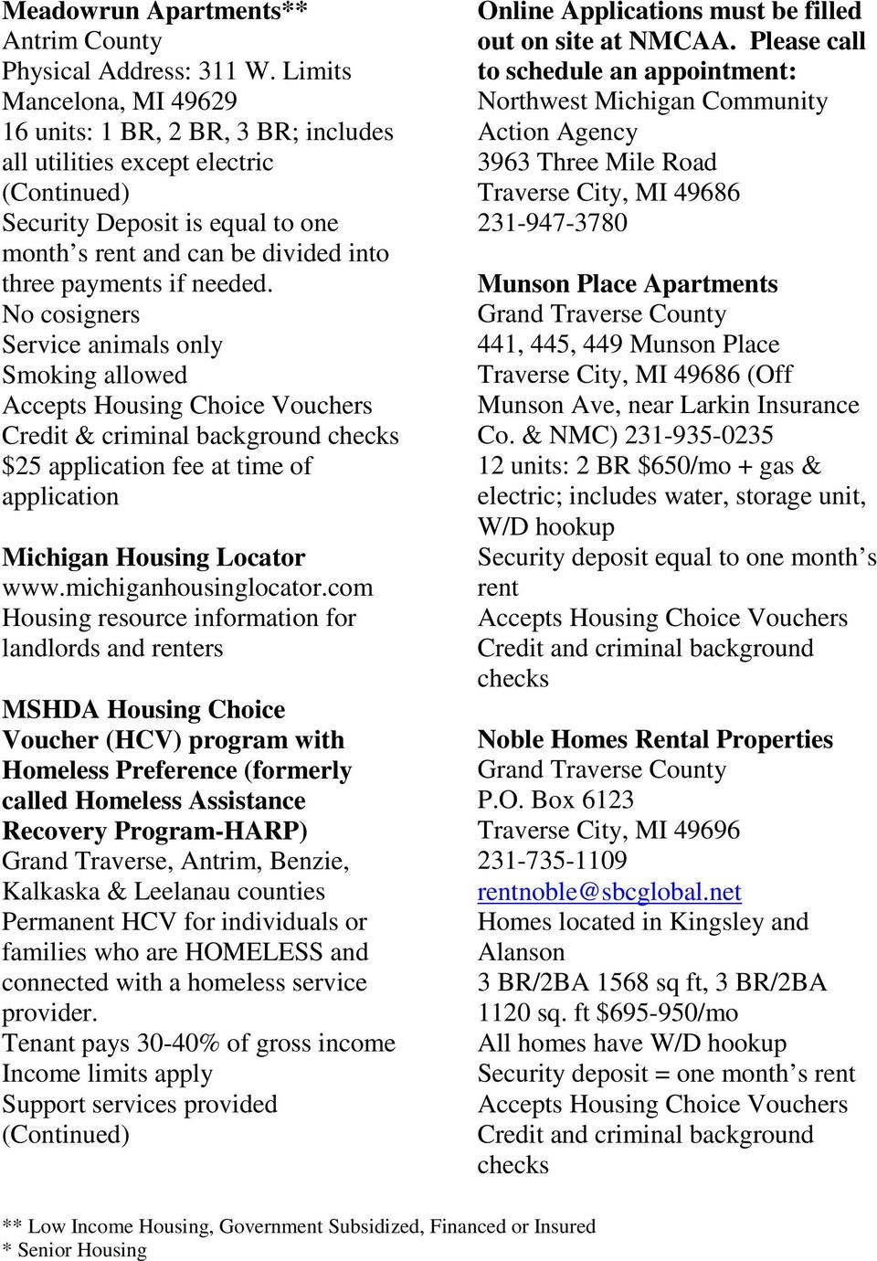 Rental Units/Property Managers Housing Resources/Home Ownership