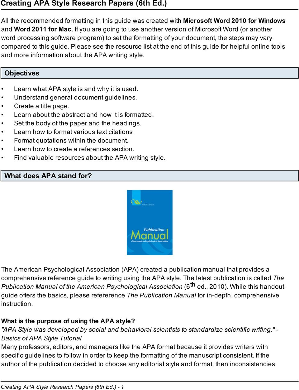 creating apa style research papers 6th ed pdf