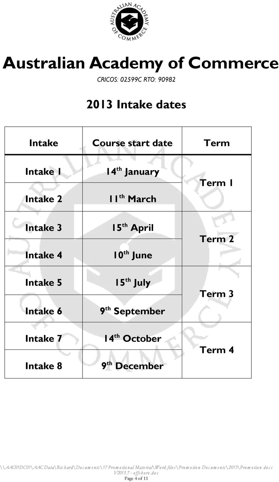 4 15 th April 10 th June Term 2 Intake 5 Intake 6 15 th July 9 th