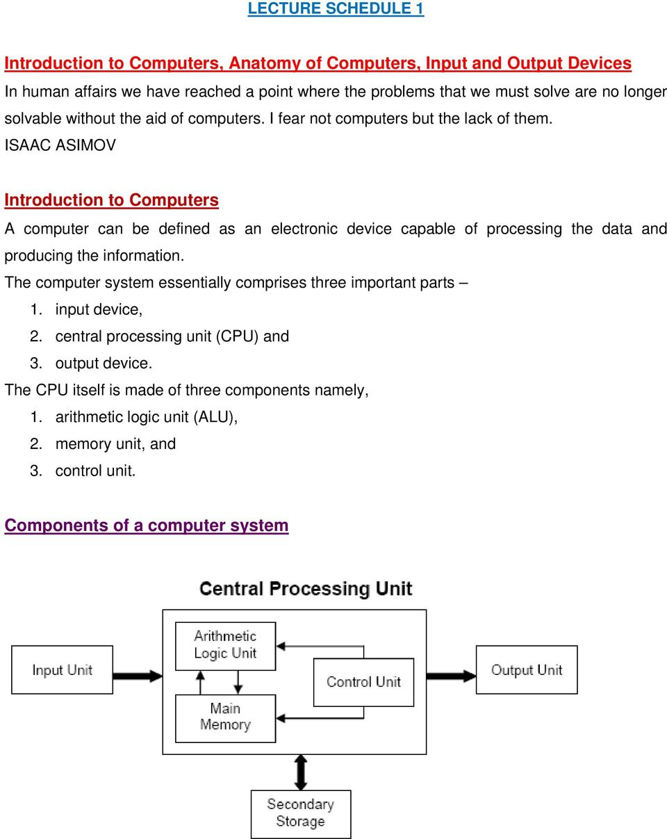 Introduction To Computers Anatomy Of Input And Output Organization Computer Systems Arithmetic Isaac Asimov A Can Be Defined As An Electronic Device Capable