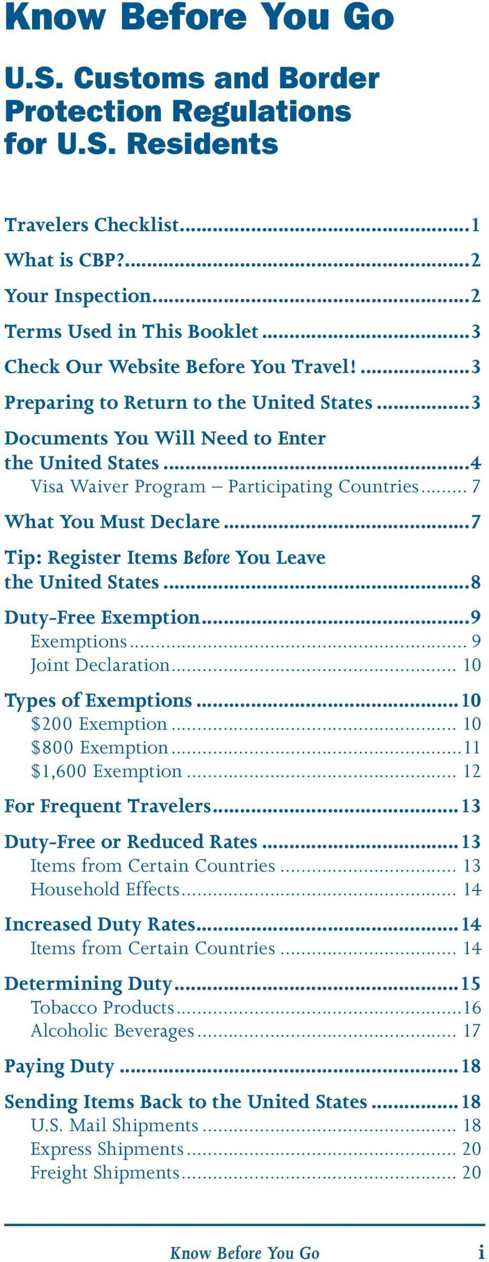 Know Before You Go  U S  Customs and Border Protection