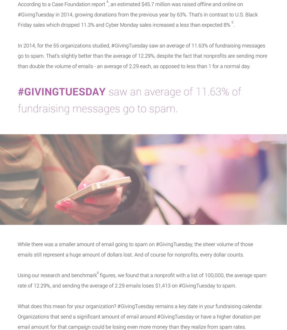 63% of fundraising messages go to spam. That s slightly better than the average of 12.29%, despite the fact that nonprofits are sending more than double the volume of emails - an average of 2.