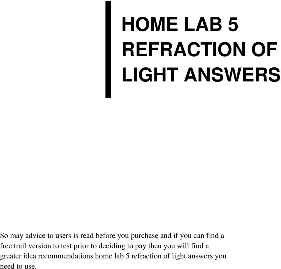 Home lab 5 refraction of light answers pdf transcription fandeluxe Image collections